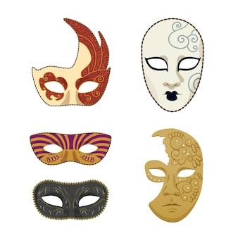 Set van 2d elegante maskers met maskerade