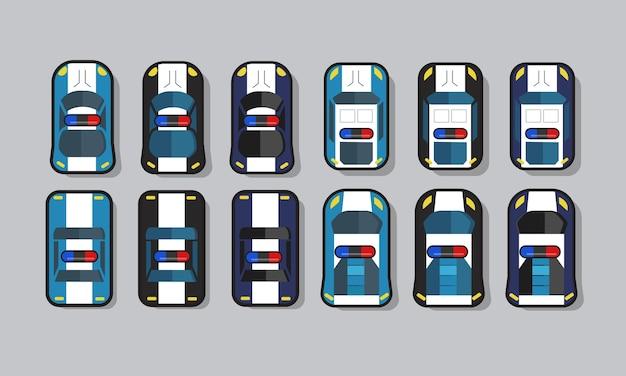 Set van 2d-game-activa van de politie-auto