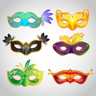Set van 2d maskerade kleurrijke maskers