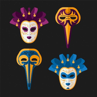 Set van 2d maskerade maskers