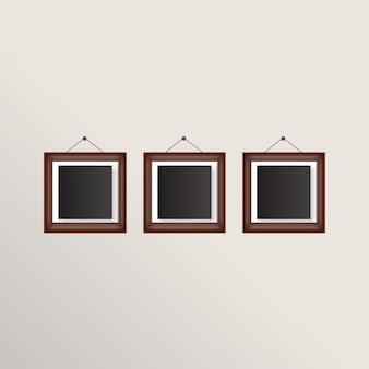 Set van 3 fotolijsten met brown boarders