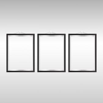 Set van 3 fotolijsten met zwarte achtergrond