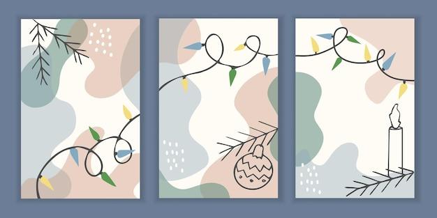 Set van 3 vakantiesjablonen voor een wenskaart of uitnodiging voor kerstmis en nieuwjaar.