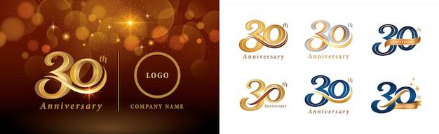 Set van 30e verjaardag logo ontwerp, dertig jaar vieren verjaardagslogo