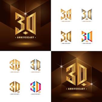 Set van 30e verjaardag logo-ontwerp