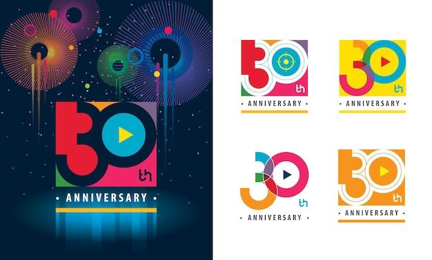 Set van 30e verjaardagslogo kleurrijk