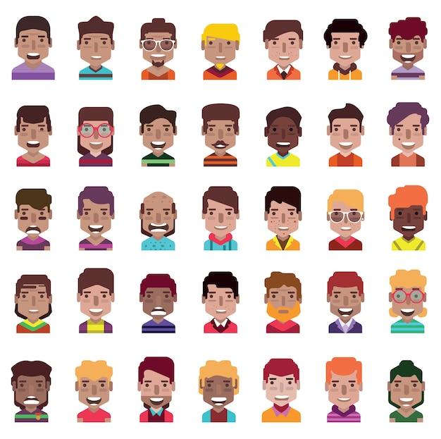 Set van 35 avatar pictogrammen