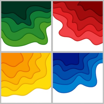 Set van 3d abstracte achtergrond en papier gesneden vormen