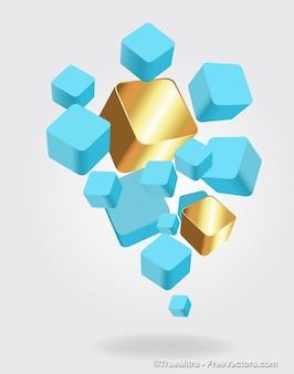 Set van 3d blauwe kubussen