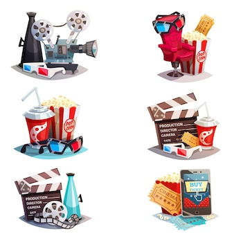 Set van 3d cartoon cinema ontwerpconcepten