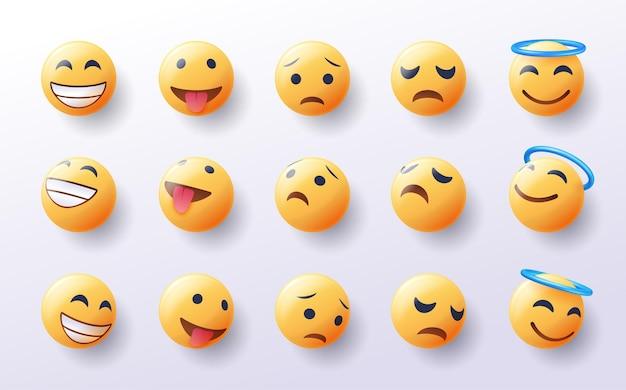 Set van 3d-emoji in ontwerp met verschillende gezichtspunten
