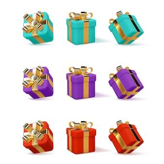 Set van 3d-geschenkdozen verpakt gouden lint geïsoleerd op wit