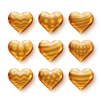 Set van 3d-harten met gouden patronen