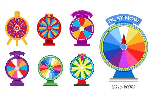 Set van 3d-realistische draaiende roulette fortuin wiel concept eps vector