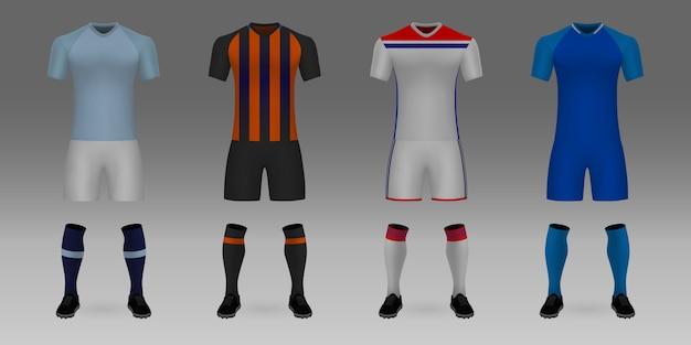 Set van 3d-realistische sjabloon voetbal jersey manchester city, shakhtar, lyon, hoffenheim.