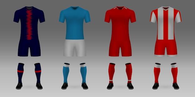 Set van 3d-realistische sjabloon voetbal jersey psg, napoli, liverpool