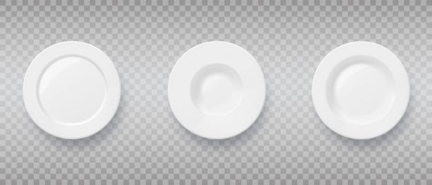 Set van 3d-realistische voedselborden en -schalen porseleinen plaat voor pastaschotel bovenaanzicht vectorkunst