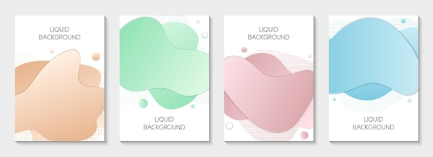 Set van 4 abstracte moderne grafische vloeibare banners geïsoleerde sjablonen met vloeiende vloeibare vormen