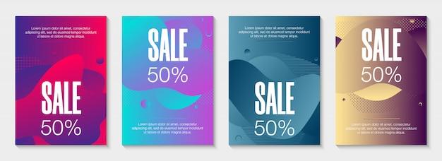 Set van 4 abstracte moderne grafische vloeibare banners