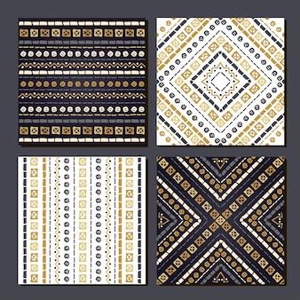 Set van 4 azteekse etnische naadloze patronen geometrische achtergronden