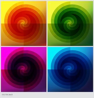 Set van 4 cirkelvormige achtergronden. kleurrijke geometrische achtergronden.