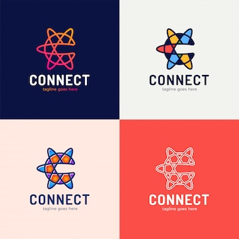 Set van 4 connect line letter c logo ontwerpsjabloon element.
