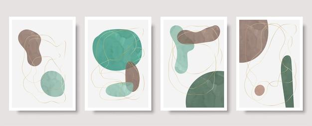 Set van 4 creatieve minimalistische handgeschilderde illustraties voor wanddecoratie