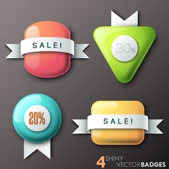 Set van 4 glanzende badges met glasvormen en papieren linten