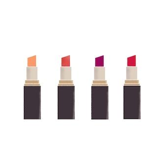 Set van 4 soorten lippenstift hand getekende illustratie.