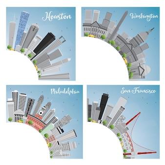 Set van 4 steden in de vs. houston, washington d.c., philadelphia, san francisco. vectorillustratie.