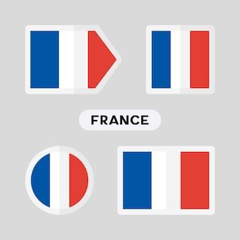 Set van 4 symbolen met de vlag van frankrijk