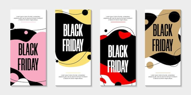 Set van 4 vloeibare banners, black friday-sjablonen