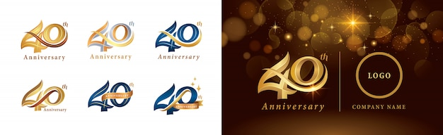 Set van 40e verjaardag logo ontwerp, veertig jaar vieren verjaardagslogo