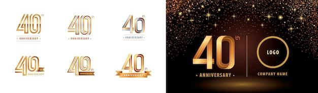 Set van 40e verjaardag logo ontwerp, vieren veertig jaar verjaardagslogo