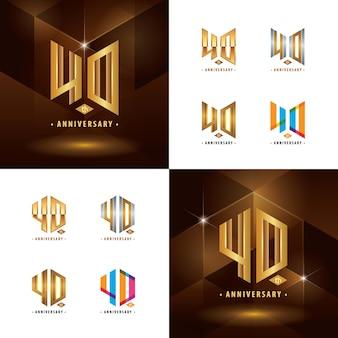 Set van 40e verjaardag logo-ontwerp