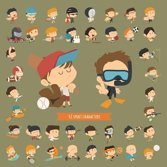 Set van 42 sport karakters