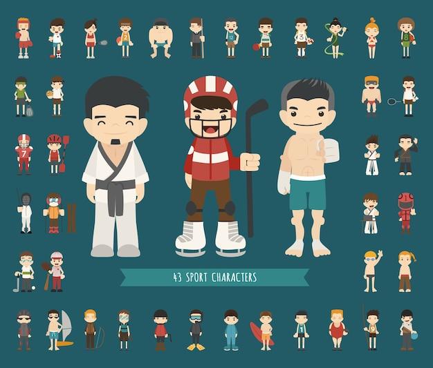 Set van 43 sport karakters