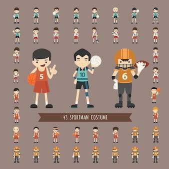 Set van 43 sportman kostuumkarakters