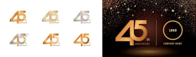 Set van 45e verjaardag logo-ontwerp, vijfenveertig jaar vieren verjaardag logo meerdere regels