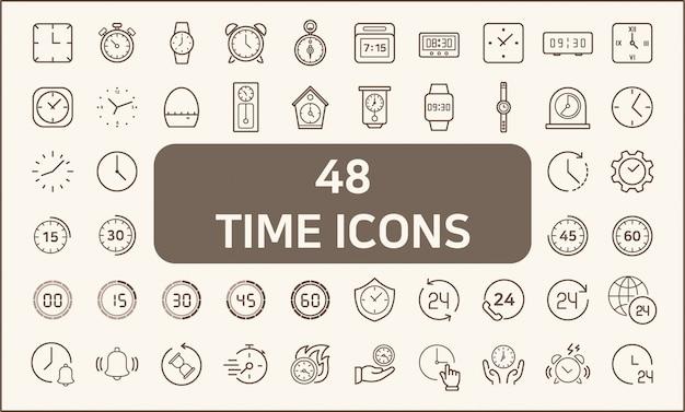 Set van 48 tijd- en klokpictogrammen lijnstijl. bevat pictogrammen zoals stopwatch, alarm, klok, zandglas, timer en meer. kleur aanpassen, lijndikte controle, eenvoudig formaat wijzigen.