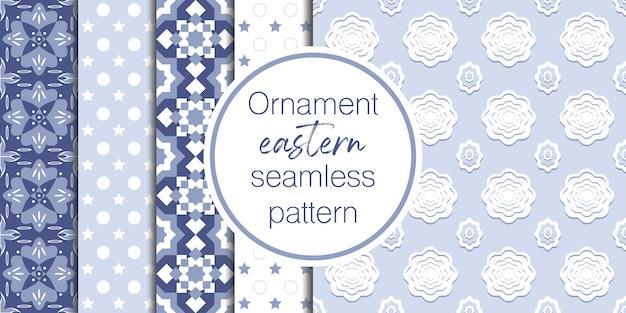 Set van 5 decoratieve en geometrische patroonachtergrond