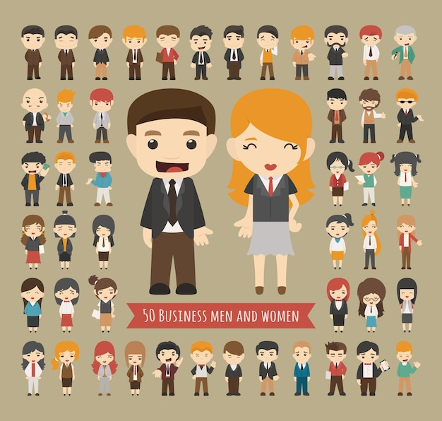 Set van 50 zakelijke mannen en vrouwen