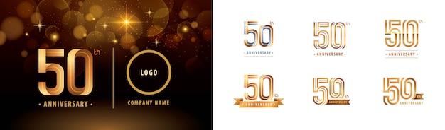Set van 50e verjaardag logo ontwerp, vieren vijftig jaar verjaardagslogo