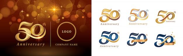 Set van 50e verjaardag logo ontwerp, vijftig jaar vieren verjaardagslogo