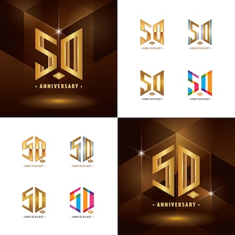 Set van 50e verjaardag logo-ontwerp