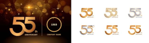Set van 55e verjaardag logo-ontwerp, vijfenvijftig jaar vieren verjaardag logo meerdere regels.