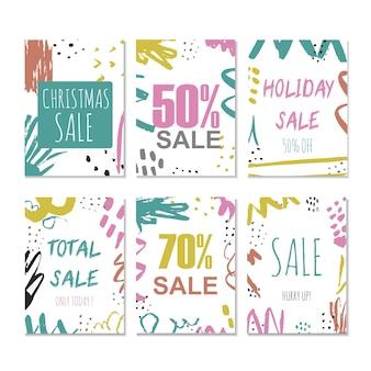 Set van 6 creatieve verkoop vakantie website banner sjablonen. kerstmis en nieuwjaar handgetekende illustraties voor social media banners, posters, e-mail en nieuwsbrief ontwerpen, advertenties, promotiemateriaal.
