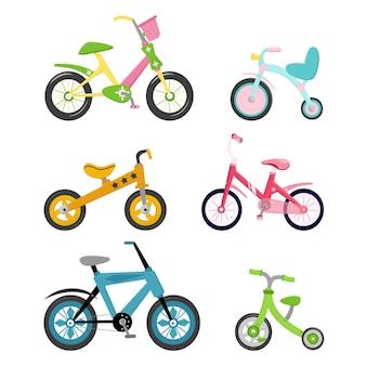 Set van 6 fietsen. kinder, tiener, volwassen fiets. felle kleuren. sport- en recreatievervoer. geïsoleerde afbeelding op een witte achtergrond. vectorillustratie, plat