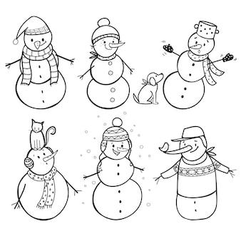 Set van 6 hand getrokken sneeuwpop