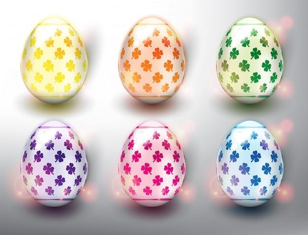 Set van 6 kleuren easter eggs. pastelkleur paaseieren. geïsoleerd op het witte paneel.